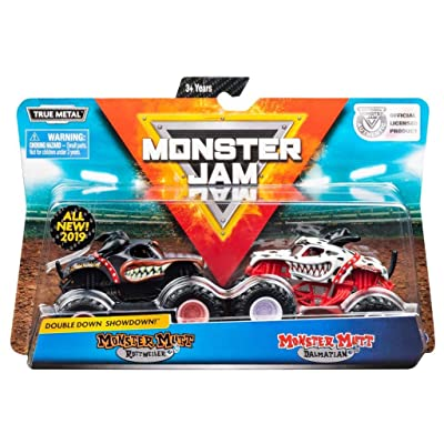 Monster Jam, Official Monster Mutt Rottweiler vs. Monster Mutt Dalmatian Die-Cast Monster Trucks, 1:64 Scale, 2 Pack: Toys & Games