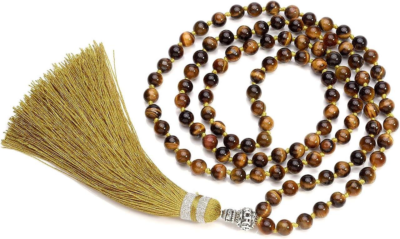 Jovivi joyas piedras Natural collar pulsera retro tibetano Buda india Ágata Mala Recuperación Energía Terapia rezando Yoga 7Chakra pulsera elástica–Árbol de la vida Occhio Di Tigre