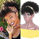 Nadula Afro Kinky Curly Headband Wig with Detachable Bangs Puff Bun 10A Brizilian Human Hair Africa American Hairstyle Ponyta