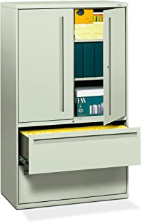 """product image for HON 2-Drawer with 3 Shelves Office Filing Cabinet - Brigade 700 Series Lateral File Cabinet, 19.25""""D, Light Gray (H795)"""