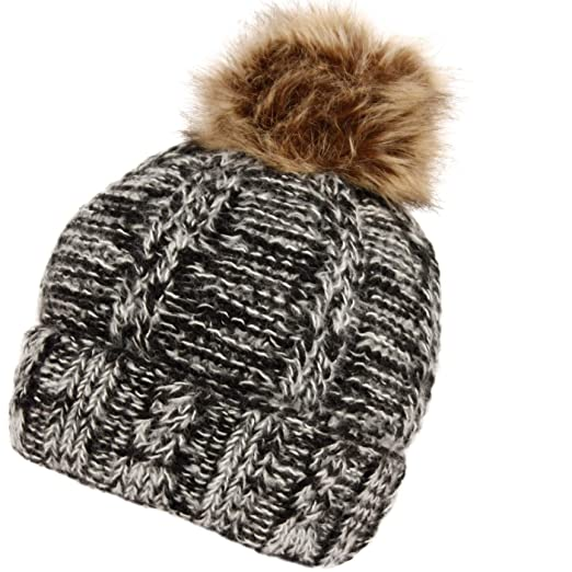 BN2126 Warm Soft Winter Thick Knit Fuzzy Lined Faux Fur Pom Beanie  (BN2376BLACK) cf65e64bb28