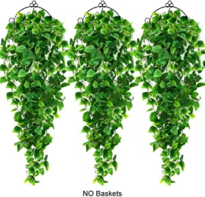 AGEOMET 3PCS Artificial Hanging Plants Fake Haning Plant, Faux Ivy Vine for Wall House Room Indoor Outdoor Decoration