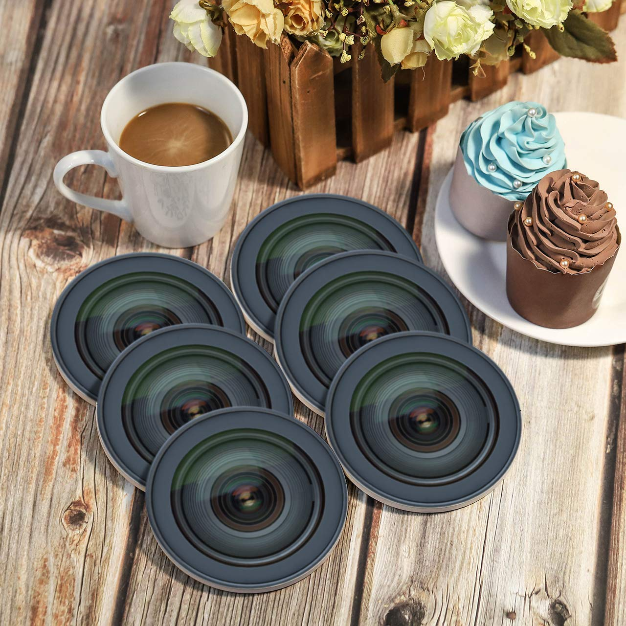 8 Pieces Round Slate Stone Coasters 4 Inch Handmade Coasters for Bar and Home GOH DODD Drink Coasters with Holder Black