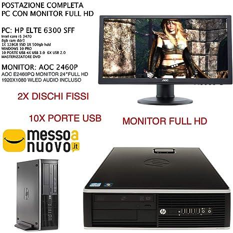 Estación Completa PC HP Elite 6300 I5 3470 8 GB RAM 2 x Disco Duro ...
