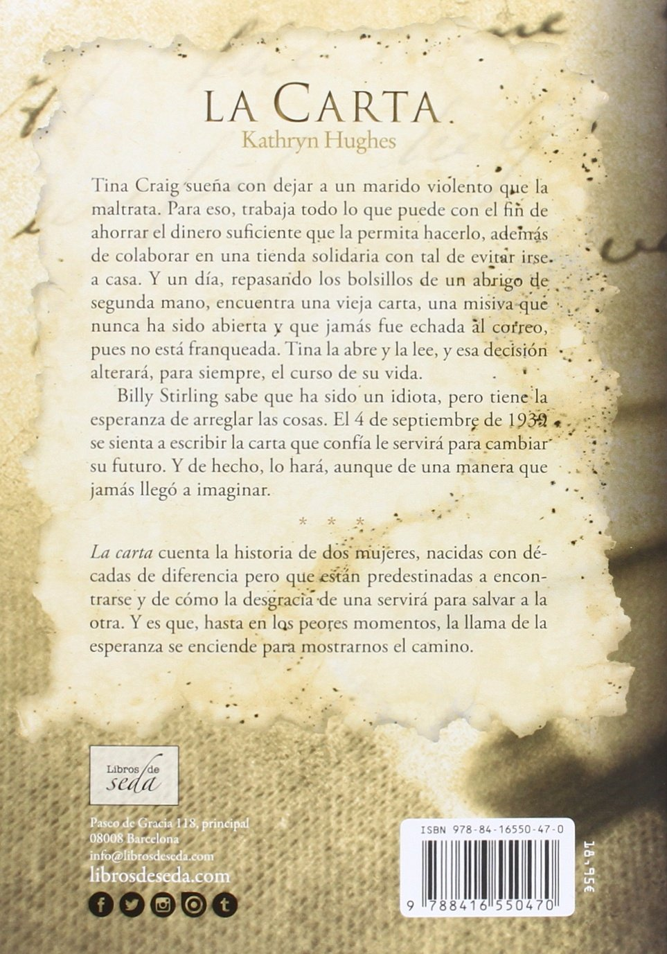 La carta (Spanish Edition): Kathryn Hughes, Libros de Seda: 9788416550470: Amazon.com: Books