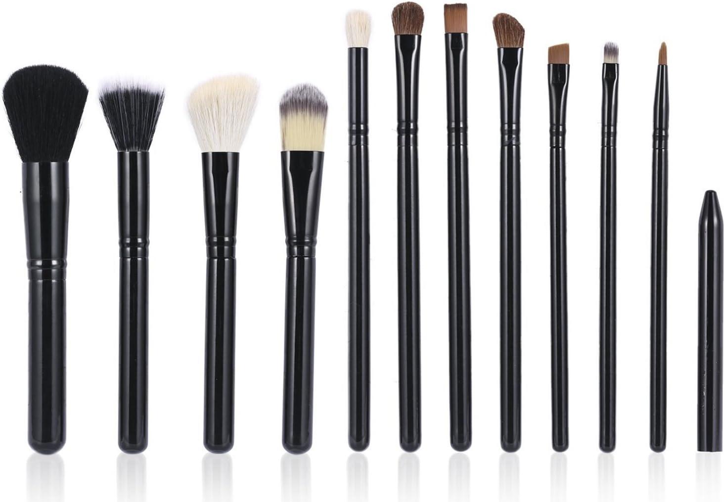 Brochas de Maquillaje Luxebell 12pcs Set de Pinceles Profesionales, Cepillos Cosmético de Sombra de Ojos Fundación Corrector Ceja en Polvos (Negro): Amazon.es: Deportes y aire libre
