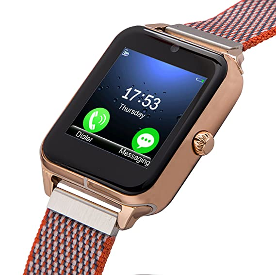 Smartwatch, Collasaro Sweatproof Smart Watch Phone with Camera and SIM Card Slot, Smart Watch for Android Samsung LG Sony HTC Smartphones (Gold ...
