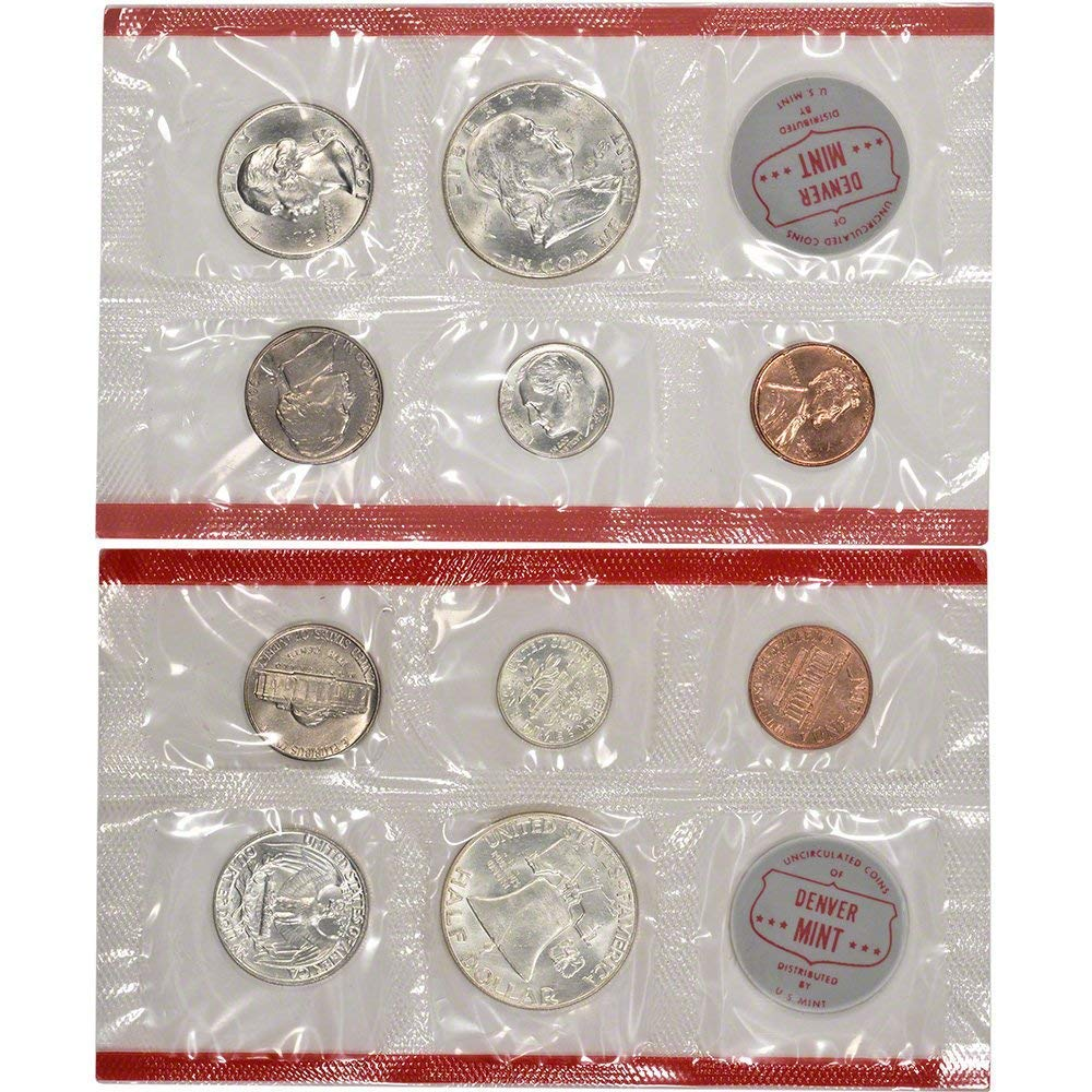 1963 US Mint 10-Coin Uncirculated Silver P/&D Mint Coin Set in OGP BU