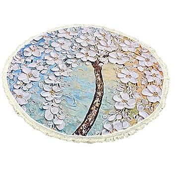 Toallas de playa, Sannysis Mantel Mandala redondo de algodón con diseño Hippy, 150cm x 150cm (A): Amazon.es: Hogar