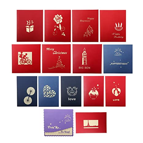 Cartoline Di Auguri Di Natale.Artistore Pop Up 15 Fogli Carte Augurali 3d Modelli Multipli