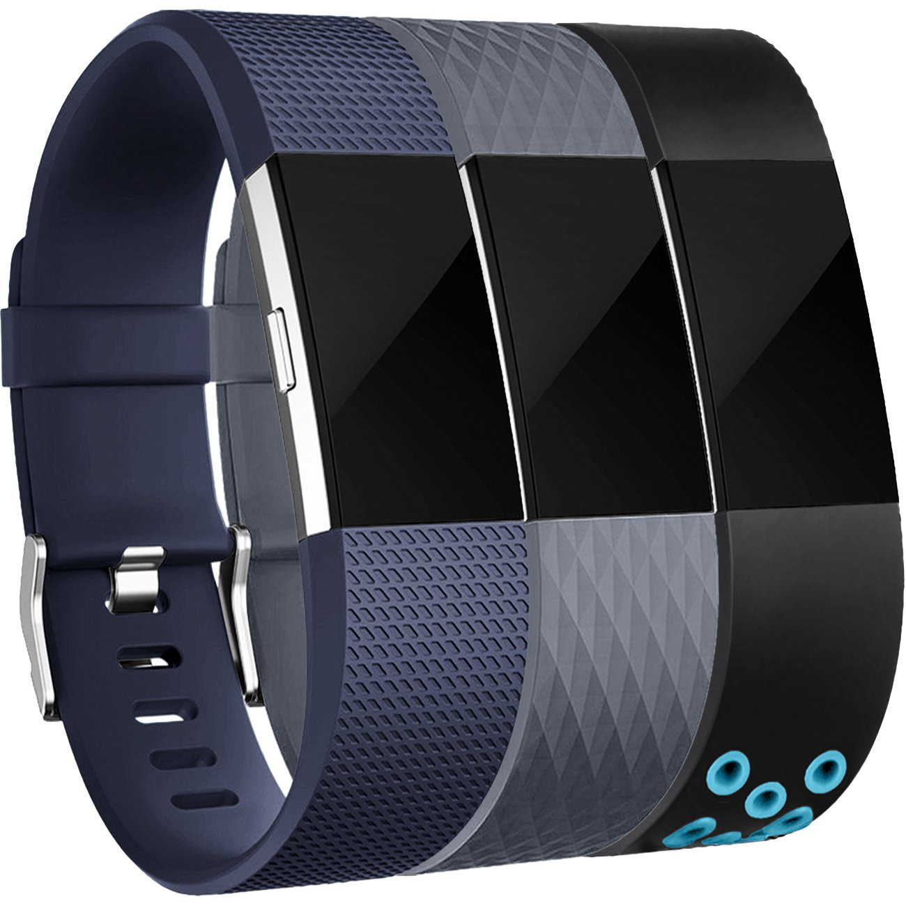 For Fitbit Charge 2バンド、Wepro交換用バンドストラップWristbands for Fitbit Charge 2、バックル、S、L、10異なる色 Small|Black/Gray/Black Blue Black/Gray/Black Blue Small B0748FWHQY