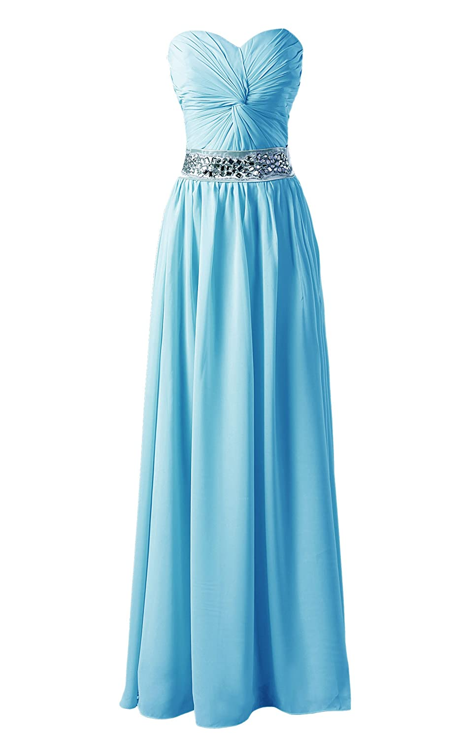 Dressystar Fashion Plaza chiffon long strapless evening dress bridesmaid dress prom dress Blue Size 16