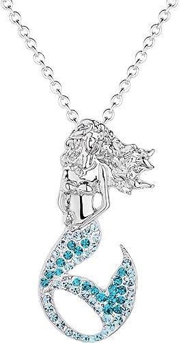 Lanqueen Little Mermaid Pendant Necklace for Women Teen Girls Fairytale Mermaid Kids Jewelry Gifts
