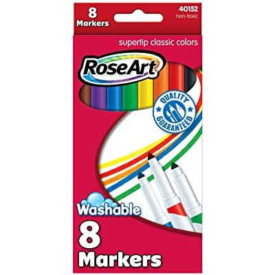 RoseArt Washable Classic SuperTip Markers 8-Count Packaging May Vary (40152VA-24): Office Products