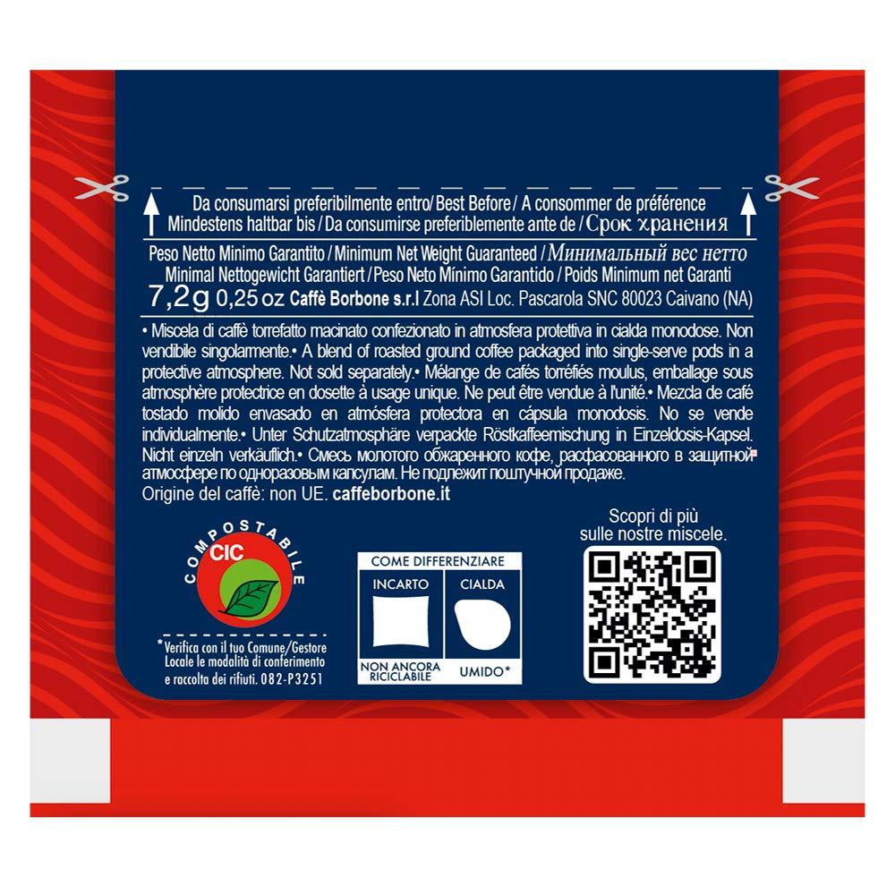 100/Kaffee Kapseln Pods Kompatibel ESE Papier Pads 44 mm Rote Caffe Borbone
