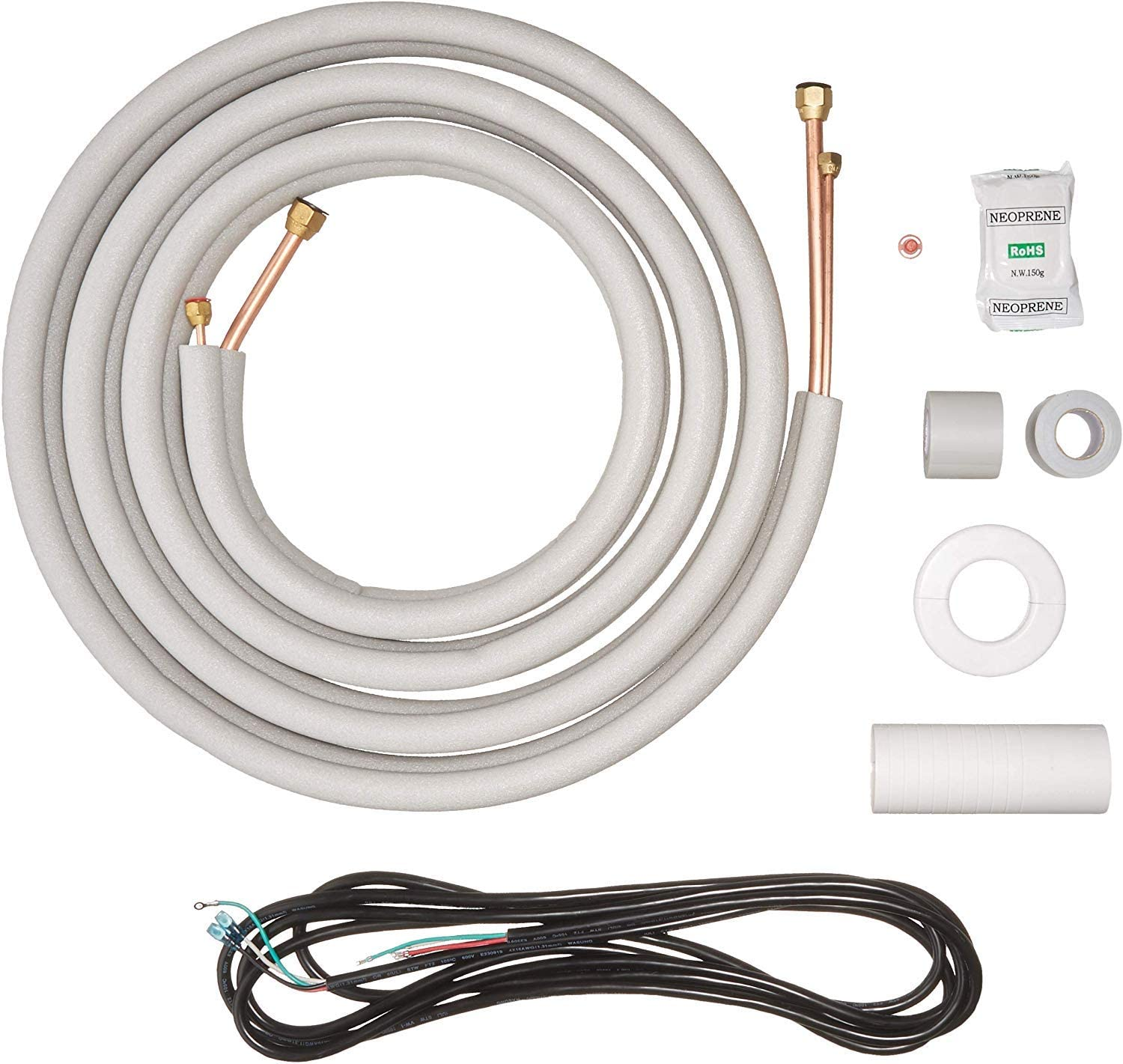 "Senville 16 Ft. Copper Pipes for Mini Split Air Conditioner, 1/4"" & 3/8"" OD, White"