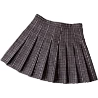 xxxiticat Girl's High Waist School Uniform Scooter Plaid Pleated Dance Skirts with Pants Inside