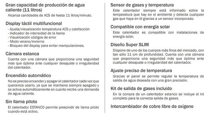CALENTADORES A GAS 22 KW 11 LITROS PROPANO G31 HTWCLE11NOXGLP: Amazon.es: Hogar