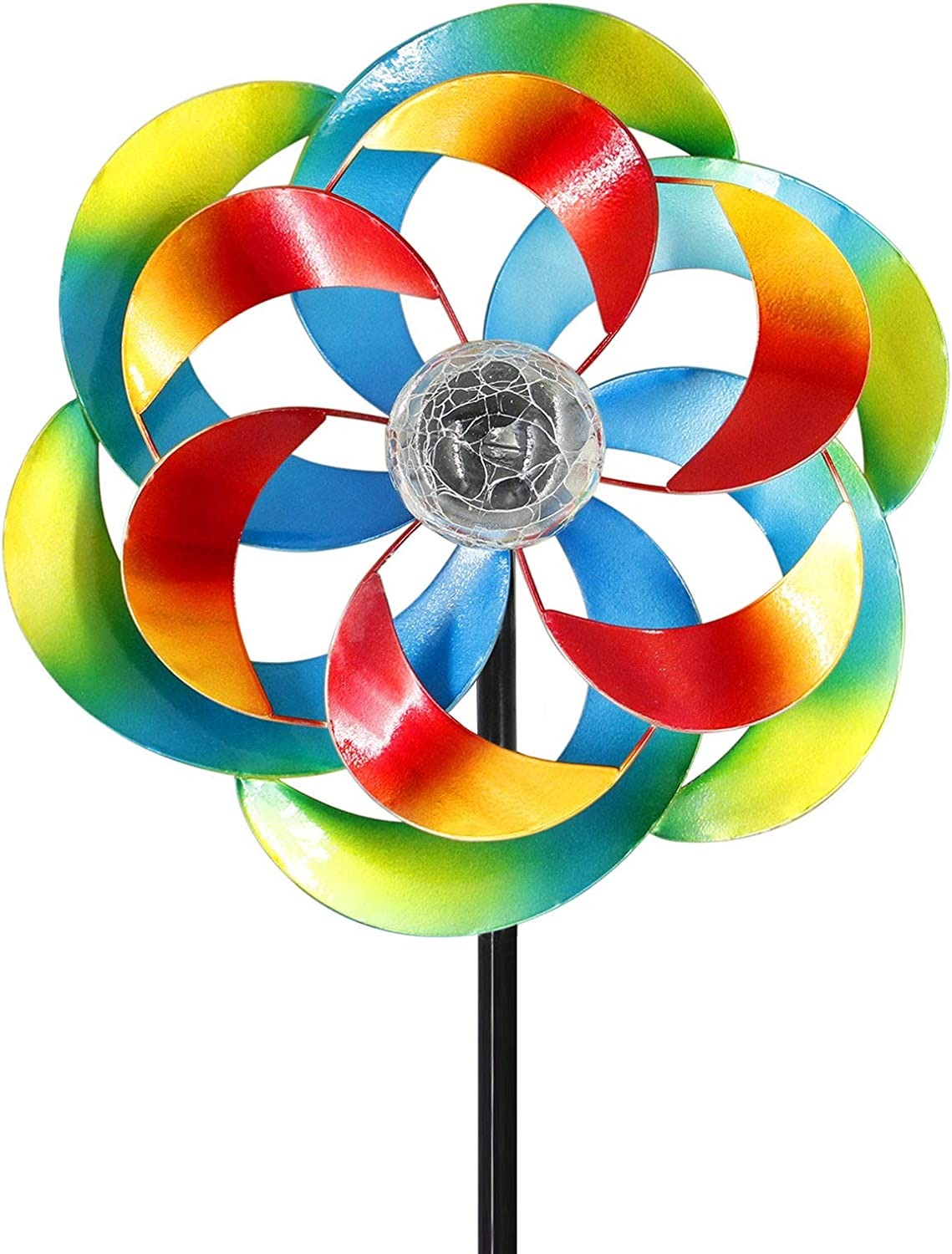 MAGGIFT Solar Wind Spinner, 57 Inches Outdoor Metal Stake Yard Spinners, Garden Wind Catcher Wind Mills, Solar Powered Multi-Colour Changing LED with Glass Ball, Lawn Yard Patio Decoration