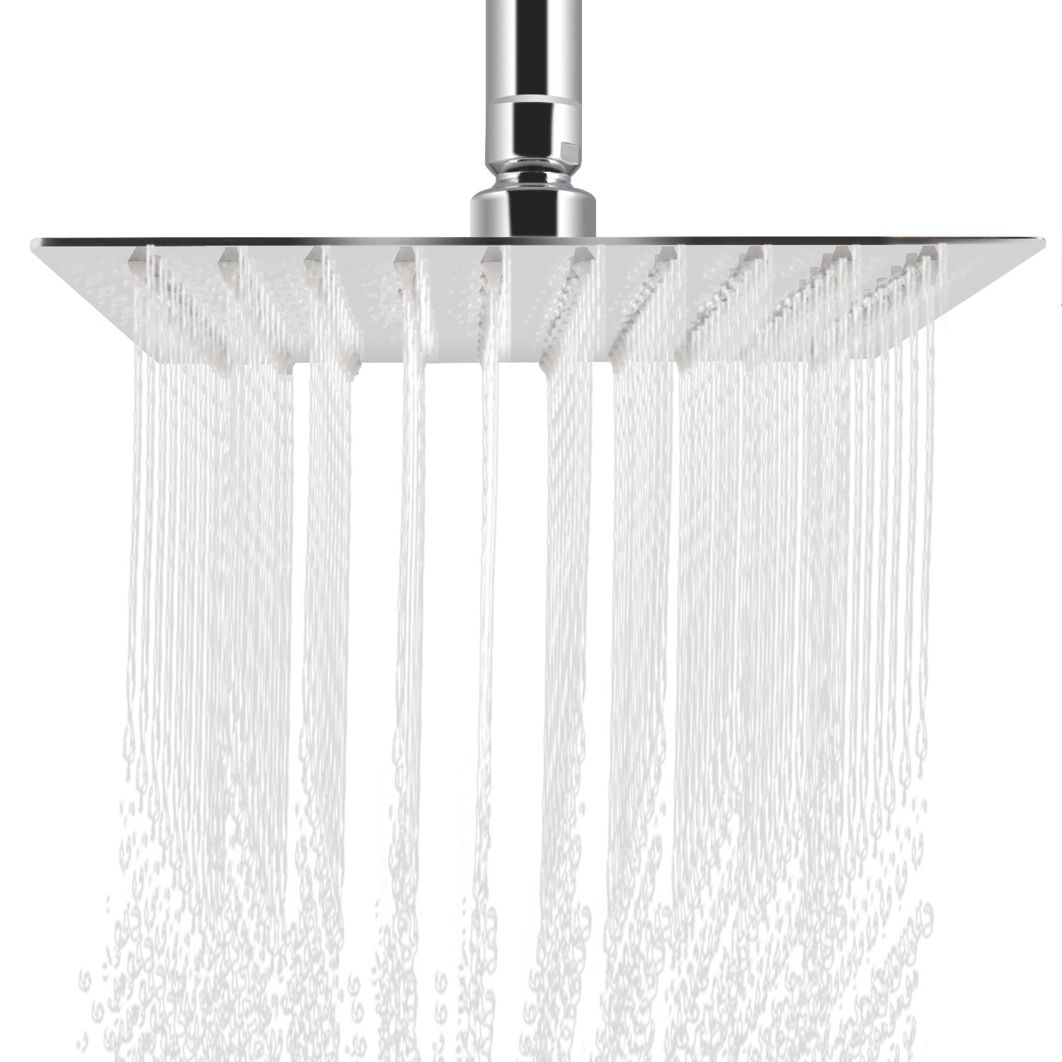 Rainfall Shower head, ieGeek Universal Luxury Large Bath Shower 304 Stainless Steel High Pressure Shower Head with Full Polish Chrome Finish and Anti-lime Nozzles Easy to Install Square - 12 Inch