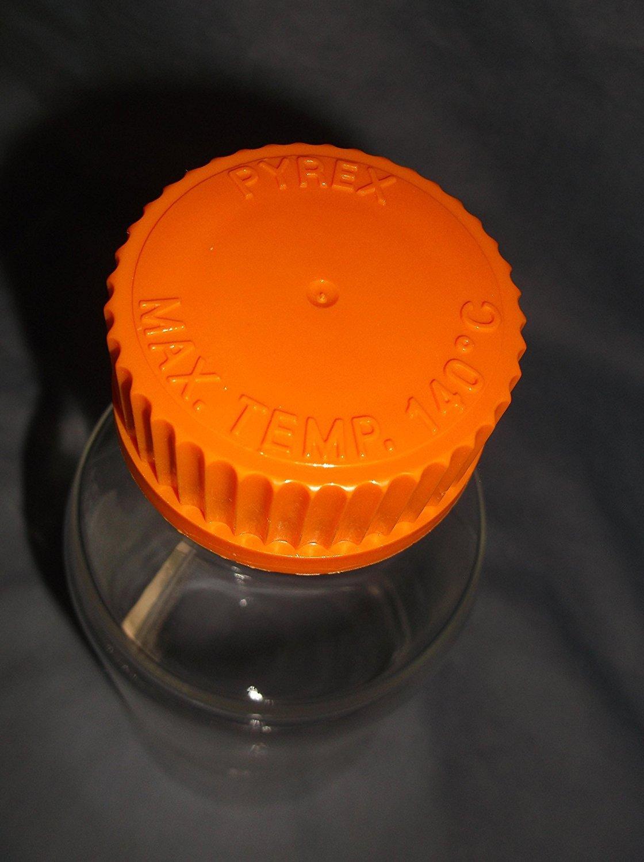 Ea Corning with GL45 Screw Cap PYREX 500mL Round Media Storage Bottles