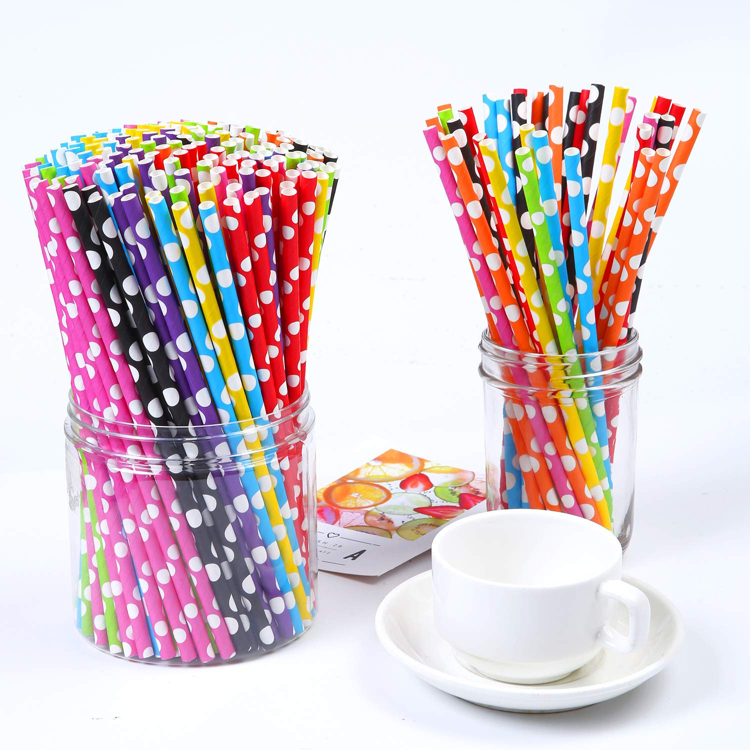 Tupa 200 Pieces Paper Straws Biodegradable Drinking Polka Dot Straw with Bulk Drinking Straws Decorations for Wedding Supplies and Party Favors