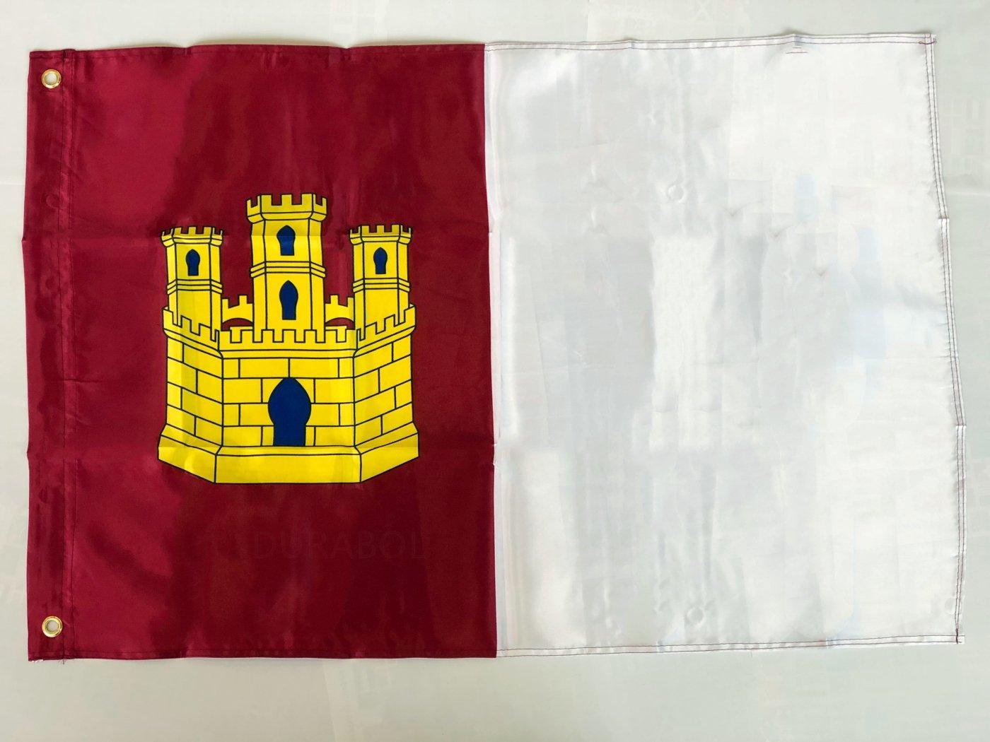 DURABOL Bandera de Castilla la Mancha Comunidades autónomas de España 60*90 cm SATIN 2 anillas metálicas fijadas en el dobladillo (CASTILLA MANCHA): ...