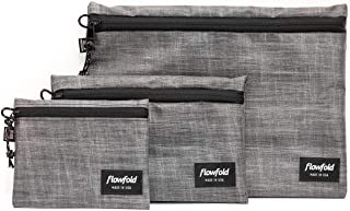 product image for Flowfold Waterproof Pouches - Everyday Utility Zipper Pouches Set of 3 Lightweight Storage Pouches, Durable Zipper Pouches, Multi Sized Set of 3 (Heather Grey)