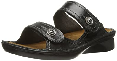 Naot Women's Sitar Wedge Sandal, Black Madras Leather, 36 EU/5-5.5