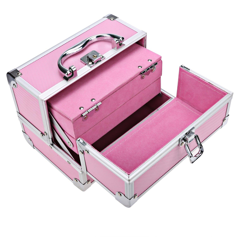Wakrays Professional 3-Tier Portable Foladble Extendable Makeup Train Case Aluminum Cosmetic Box + Mirror + 2 Keys (Pink)