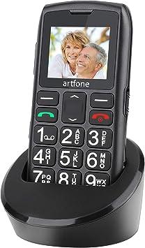 Teléfono Móvil para Personas Mayores Teclas Grandespara Mayores, Artfone C1 con SOS Botón, 1.77 Pulgadas, con una Base de Carga, Fácil de Usar para Ancianos, Negro: Amazon.es: Electrónica