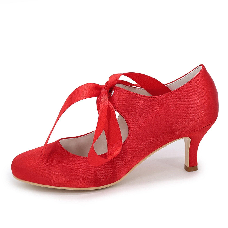 Elobaby Frauen Hochzeit Herbst Schuhe Kleid Rot Dunkel Blume Wies Abend Herbst Hochzeit Bandagen Geschlossene Zehe/6cm Ferse Silver f1fa8f
