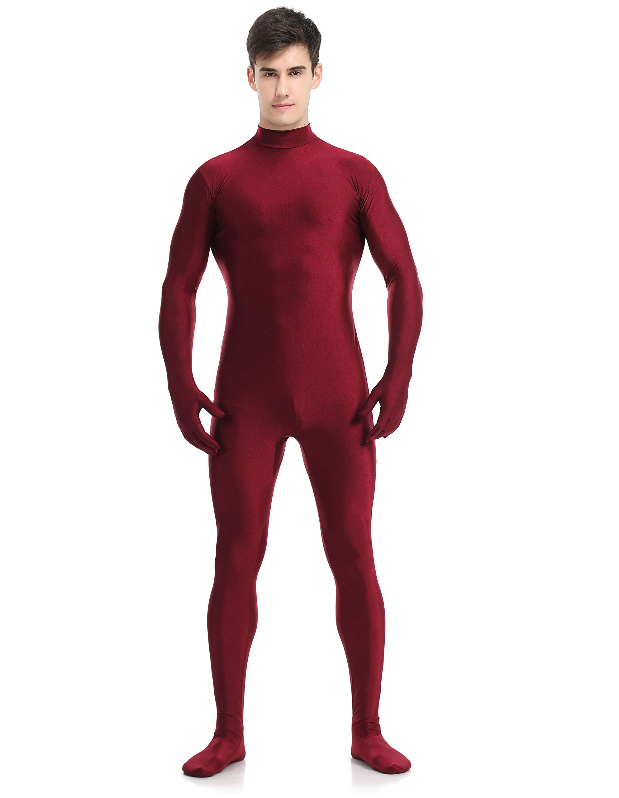 speerise Adult Full Lycra Spandex Bodysuit Unitard Costume Zentai Suit Without Hood, XS, Deepred by speerise