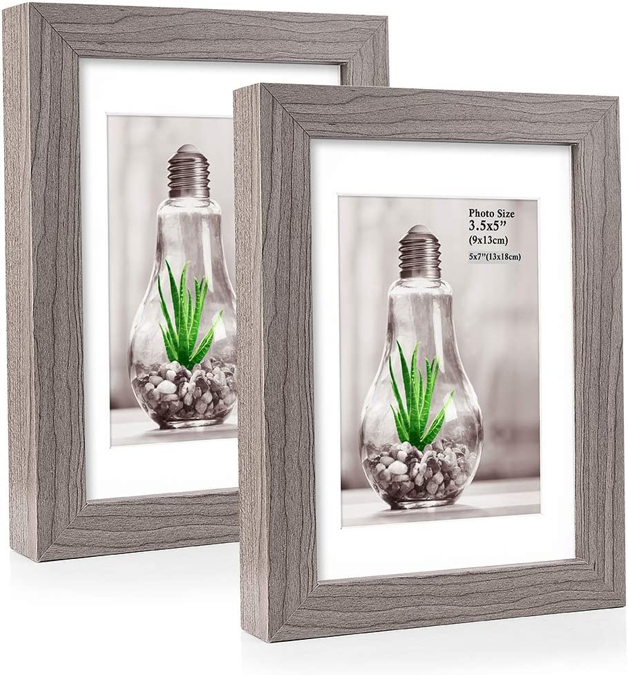 """18""""x9"""" dark grey picture frame with mount to fit 3 7""""x5"""" photos"""