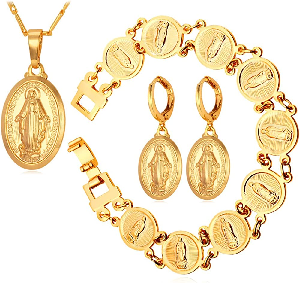 Bracelet Bangle miraculous medal Virgin Mary plated gold model Virgin Mary