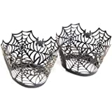 FENICAL Spiderweb Laser Cut Cupcake Wrappers Cupcake Liners for Halloween Party Cake Decoration (Black) 50pcs