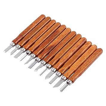 12pcs Set de Cuchillos Cortadores de Xilografía Cinceles de Talla de Madera para Herramientas de Bricolaje