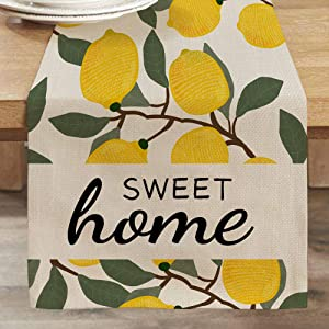 CROWNED BEAUTY Summer Table Runner Lemon Sweet Home 13 x 72 Inch Farmhouse Rustic Holiday Kitchen Dining Table Decoration for Indoor Outdoor Dinner Party CT004-72