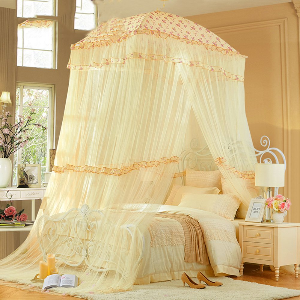 Circular dome bed canopy,Home Princess wind Court Double Premium mosquito net-C Queen2