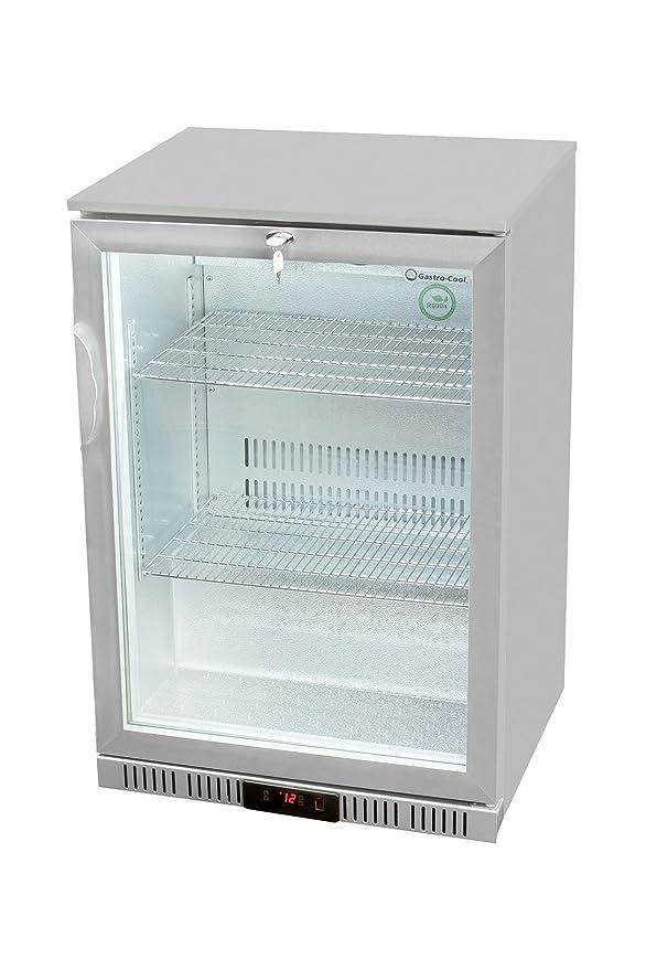 Glastür-Kühlschrank 90 x 60 x 52 cm silber | Getränkekühlschrank mit ...