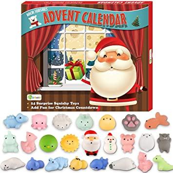 Christmas Countdown Calendar.D Fantix Mochi Squishy Toys Advent Calendar 2019 Christmas Countdown Calendar Gift 24pcs Kawaii Squishies Animals Relief Stress Toys Unicorn Dinosaur
