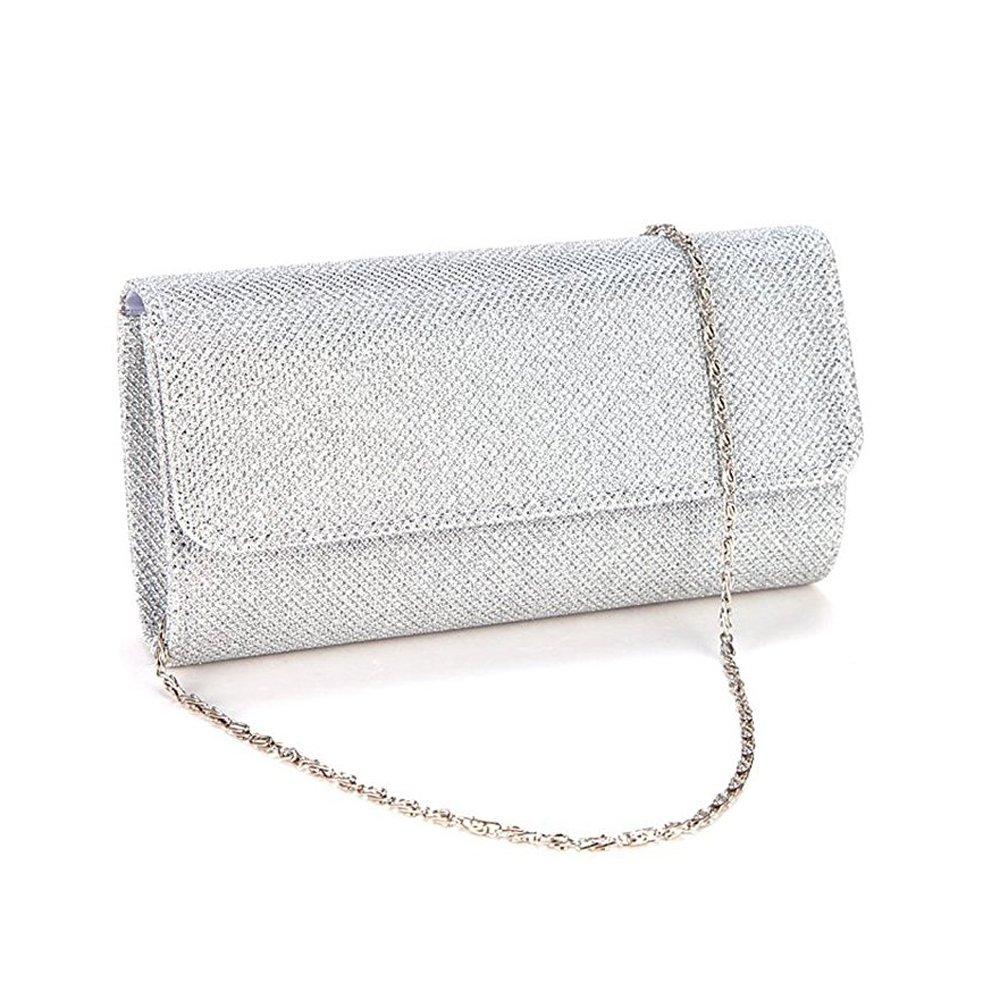 AITING Women's Evening Party Wedding Ball Prom Clutch Wallet Handbag (Silver)