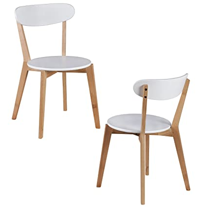 WOHNLING Set di 2 Sala Sedie MDF White Design sedie in legno sedie ...