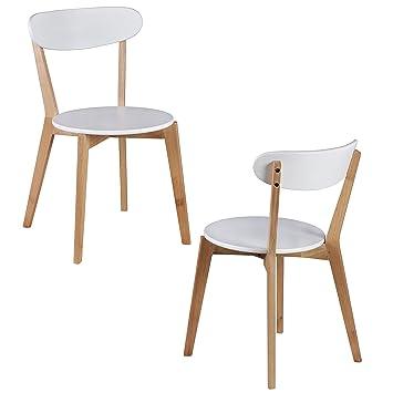WOHNLING 2er Set Esszimmerstühle MDF Weiß Design Holz Stühle Retro  Küchenstühle Skandinavisch Essstühle Sitzmöbel Retrostyle