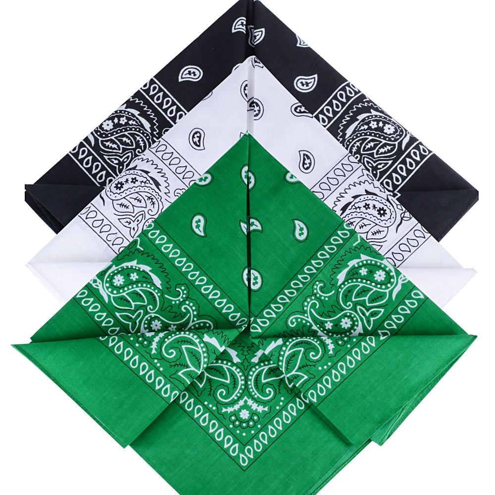 QUMAO Bandanas Paisley Multicolore 100/% Coton Bandana Cheveux Bandeau Bandannas Foulard Fichu Mouchoir Echarpe Cadeau Homme Femme No/ël 55cm*55cm