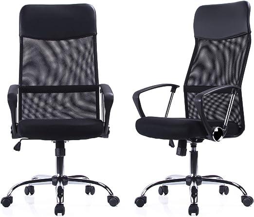Exofcer Bürostuhl Chefsessel Office Chair Drehstuhl Höhe Verstellbar Schreibtisch Stuhl Pu Leder Und Hohe Gebogen Mesh Schwarz Küche Haushalt