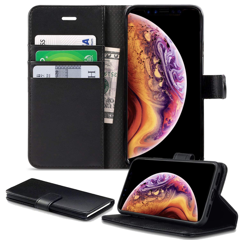 DN iPhone X/XS Coque, iPhone X/XS Coque [5.8] Alive [Cuir PU de Haute qualité] [Porte Carte] [ID Support] [Portefeuille Coque] [Noir] [Livre Coque] [Flip Coque] [aux Chutes] pour iPhone X/XS Coque
