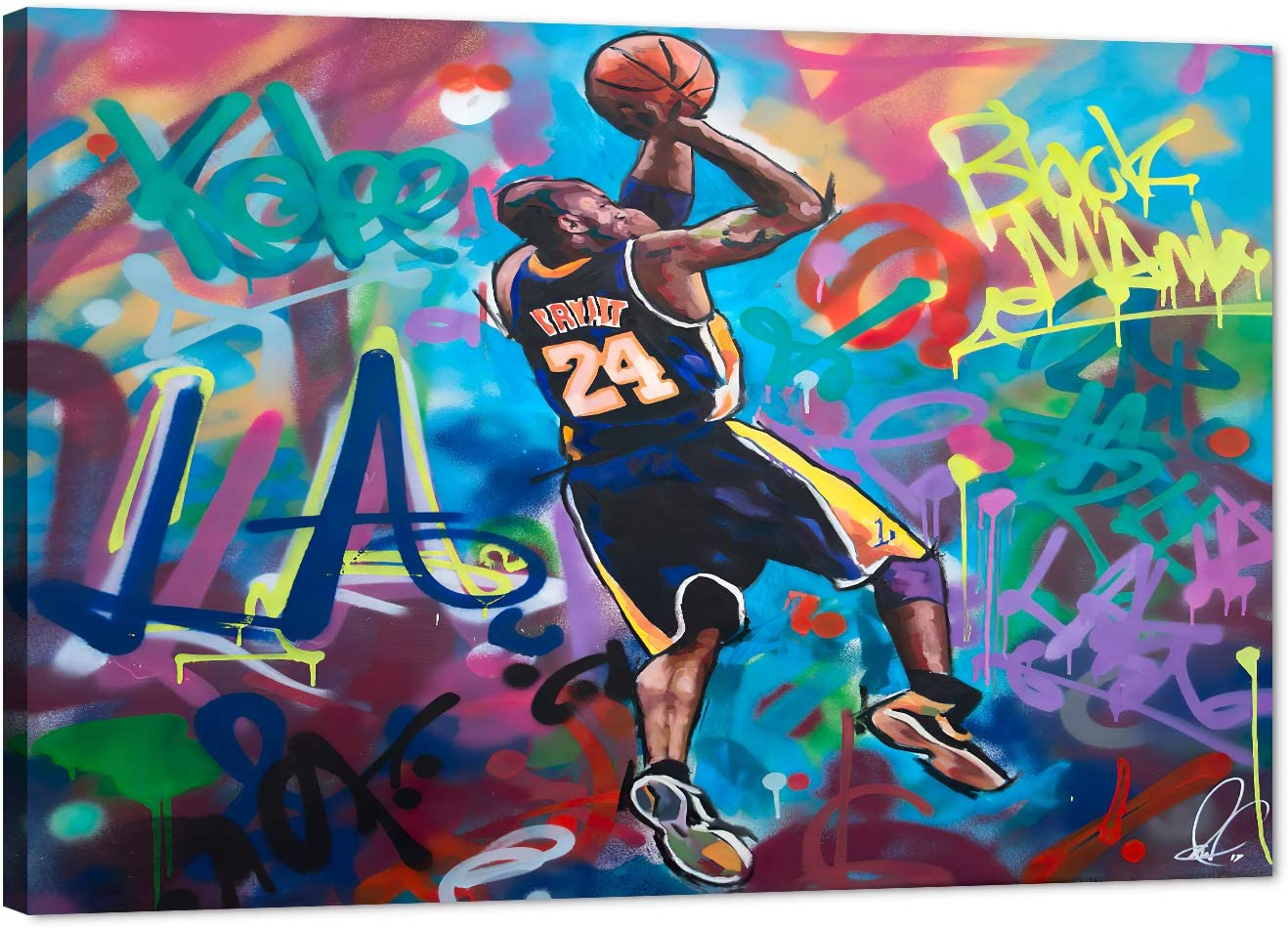 Kobe Street Graffiti Canvas Wall Art, LA Lakers Forever Legend #24 Basketball Star Framed Poster for Home Wall Decor, Colorful Black Mamba Painting for Men Boys Bedroom Office Decor(12x18 Inches)