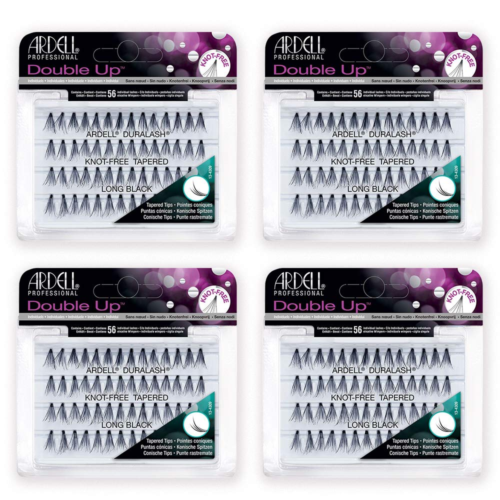 Ardell False Eyelashes Double Up Individuals Knot-Free Long Black 4 Pack
