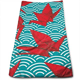 WBinHua Asciugamani, Teli Mare Beach Towel, Sports Towel, Cranes Origami Scales Waves 100% Cotton Towels Ultra Soft & Absorbent Bathroom Towels - Great Shower Towels, Hotel Towels & Gym Towels